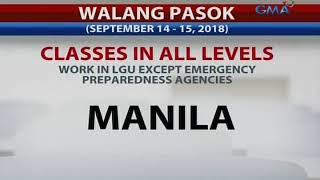Mga lugar sa Metro Manila na walang pasok mula September 14 -15, 2018 dahil sa Bagyong Ompong