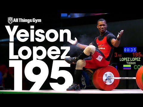 Yeison Lopez (77kg, Colombia, 18 y/o) 195kg Clean & Jerk 2017 Junior Worlds