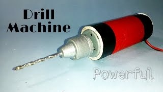 how to make a mini powerful drill machine at home by using dc motor