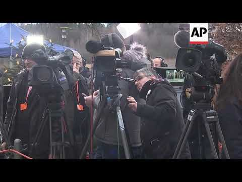 Hungarian PM speaks to media at German conservatives' meeting