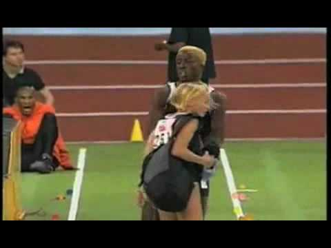Athletics long jump collision
