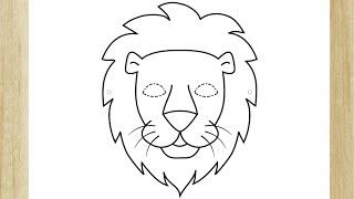 COMO DESENHAR O ROSTO DE UM LEÃO FÁCIL /// HOW TO DRAW LION FACE (EASY)