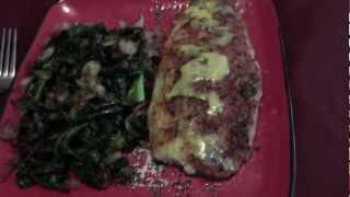 Kale W/ Onion, Garlic,& Bacon With Parmesan Encrusted Swai Fish W/ Dill Sauce....enough Said!