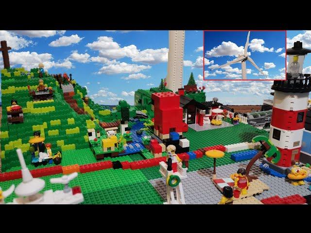 Bau einer Legostadt (Teil 21) Das Windrad wird integriert