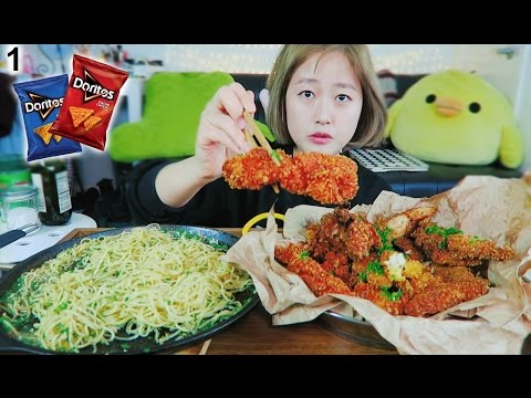 How to make **Doritos**  Chicken Fingers with Aioli Angel Pasta cooking/mukbang