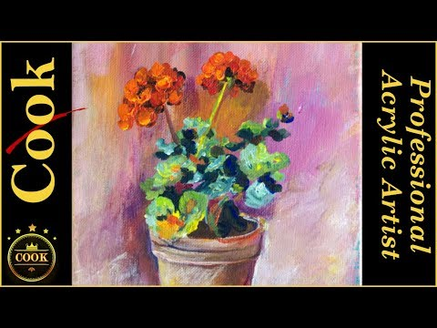 How to Paint  Red Geranium Flowers  In a Pot  and Bonus 10 min Quickie at the End with Ginger Cook