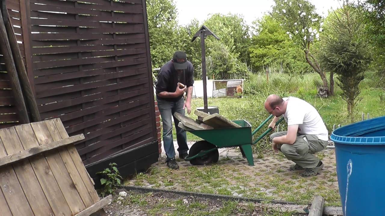 Platter Reifen Bauarbeiter Sketch Schubkarrenrad Kaputt Lustige