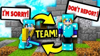TEAM OF 2 IN SOLO MINECRAFT SKYWARS!?