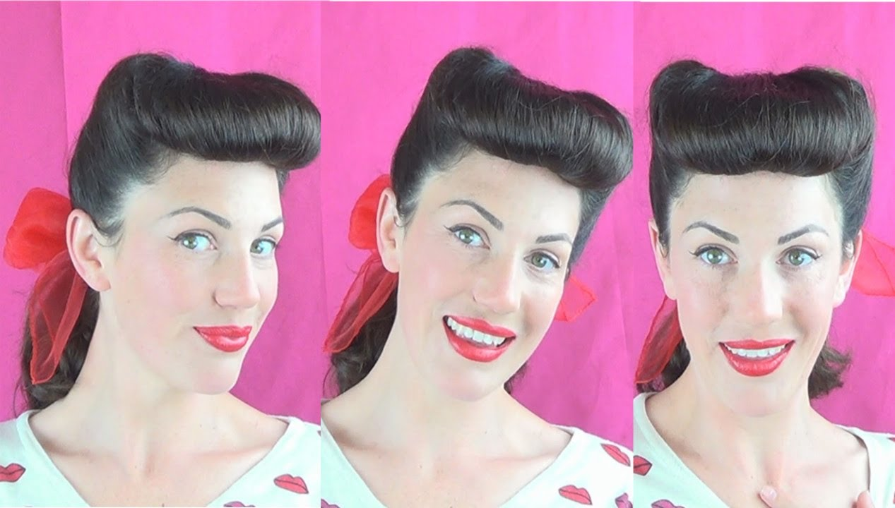 Classic PInup Bumper Bangs & Victory Rolls tutorial - Vintagious ...
