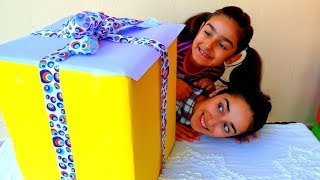 Esma and Asya Pretend play Surprise gift fun kid video