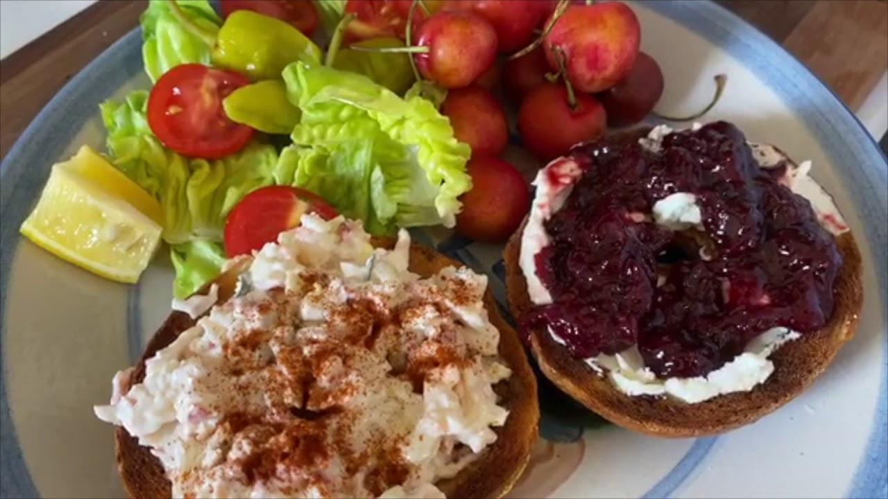 CT Lobster Salad, Toasted & Scooped Deke's Bagel