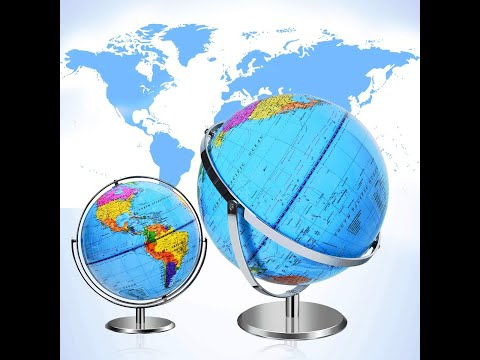 12-Inch Desktop World Globe, Geographic Globes wBlue Oceans, 720° Revolution Decorative Politi.