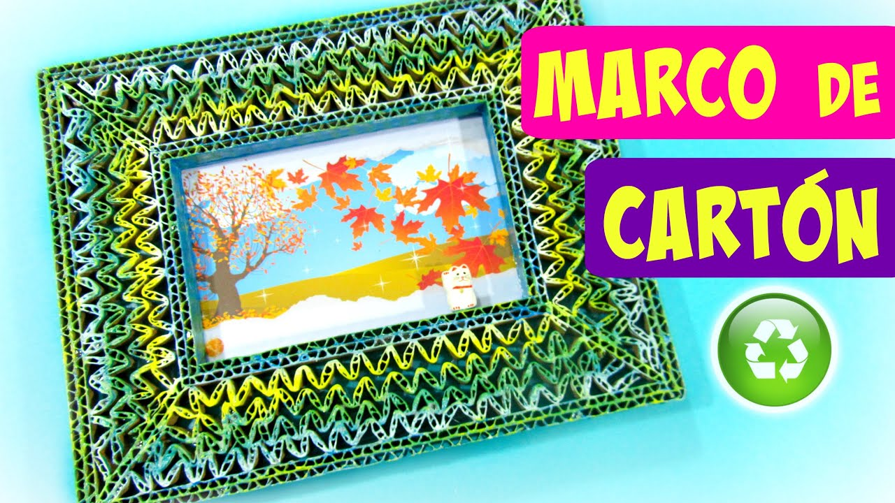 DIY Marcos para fotos de cartón. Cardboard picture frame - YouTube