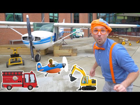 Blippi At The Children's Museum To See Vehicles For Kids   Transportation Song