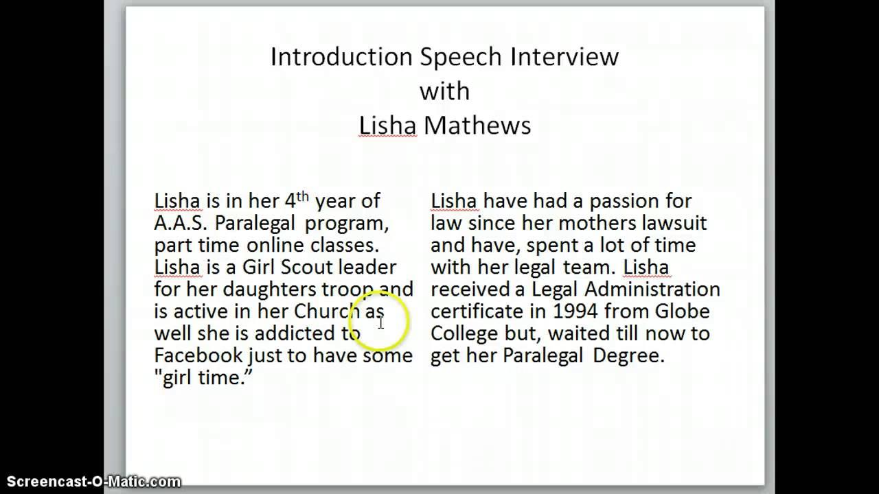 introduction speech interview introduction speech interview