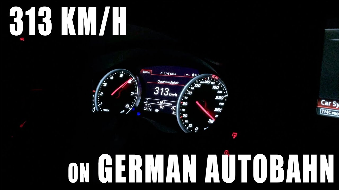 313 km h 194 mph on german autobahn audi rs6 performance youtube. Black Bedroom Furniture Sets. Home Design Ideas