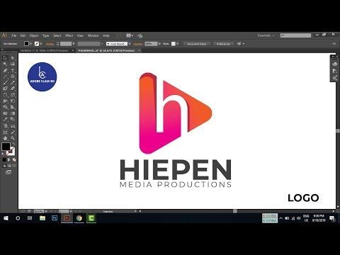 Logo design tutorial -  media flat logo using gradient color in illustrator thumbnail