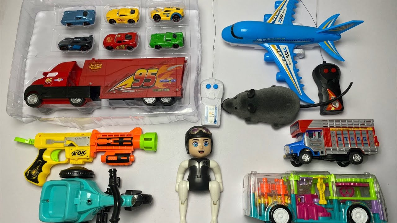 My Latest Cheapest toys Collection, Cars3 Set, RC Airplane, RC Mouse, Truck, Gun, Stunt Bike, Bus