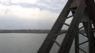 Passing over NARMADA RIVER BRIDGE, BHARUCH, GUJARAT. 12216 Bandra - Delhi Diesel Garib Rath