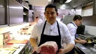 Ozaki Wagyu beef dish at 2 Michelin star Werneckhof By Geisel, Munich