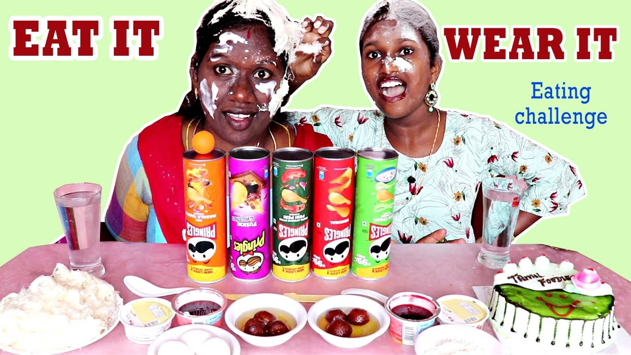 EAT IT OR WEAR IT CHALLENGE IN TAMIL FOODIES DIVYA AND ANUSHYA
