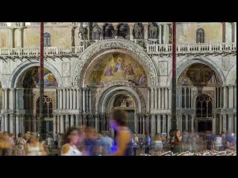 Entrance to Basilica of St Mark night timelapse. It is cathedral church of Roman Catholic