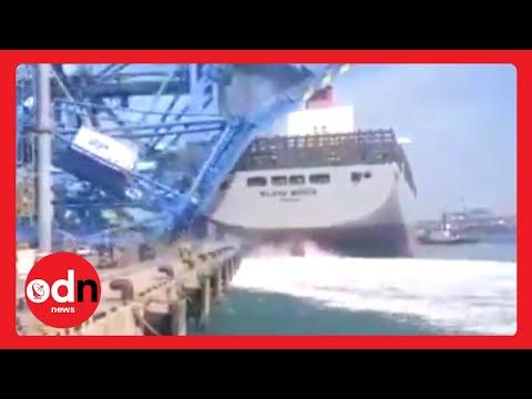 Out-Of-Control Cargo Ship Crashes Into Dock Crane in South Korea