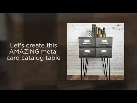How to Upcycle VHS Tape Drawers (Storage Cases) into Industrial Metal Card Catalog Table
