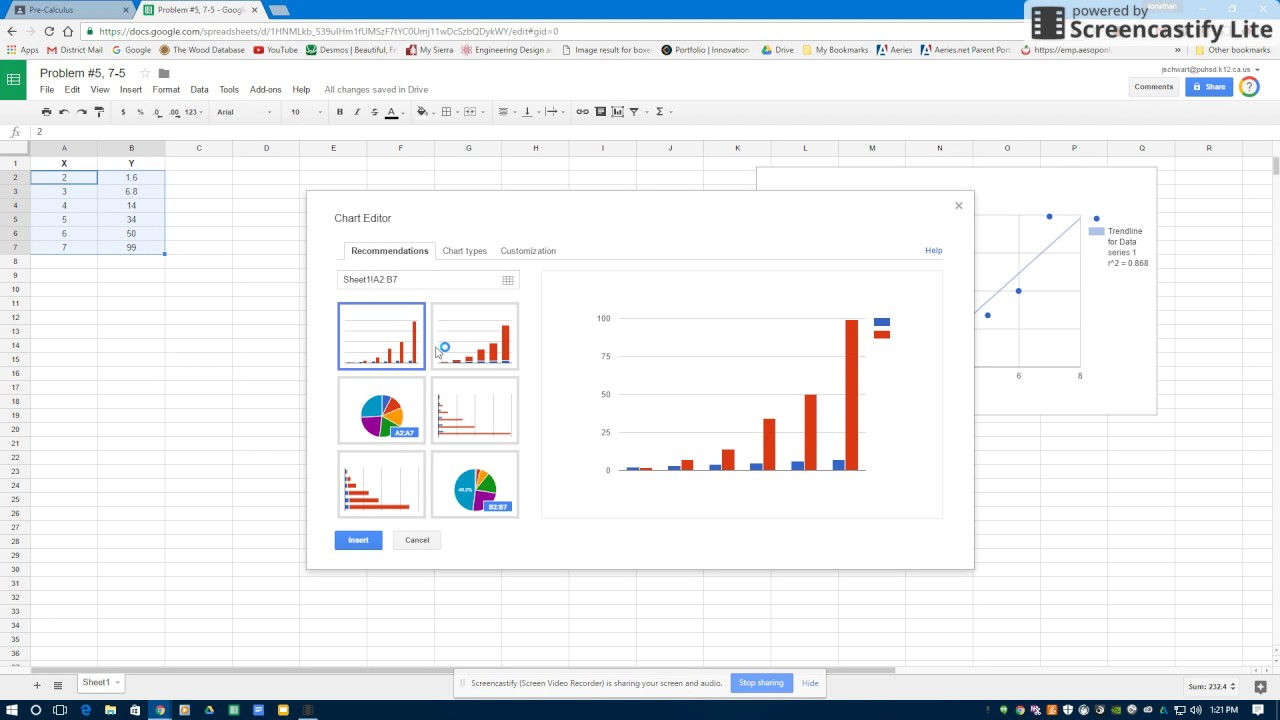 How to do regressions in Google Sheets