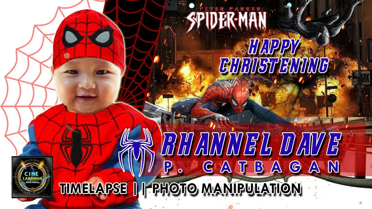 spiderman birthday christening layout concept