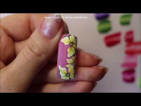 Китайская роспись ногтей для начинающих Орхидея