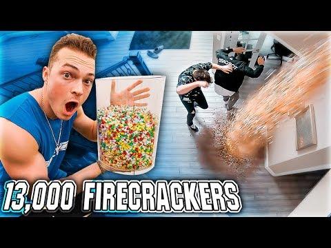 13,000 FIREWORKS Dropped On Friends (Prank)