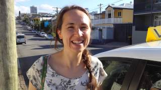 Heidi after her driving test in brisbane with Road