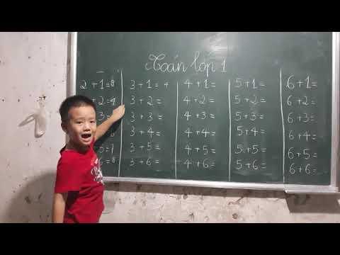 Bé học toán lớp 1/ Phép cộng trong phạm vi 10/ Thử thách học toán cùng con trai
