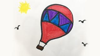 How to draw and color a Hot Air Balloon  -for kids!