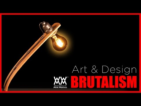 Brutalist Style Lamp. Bent Wood and Concrete. | ART & DESIGN