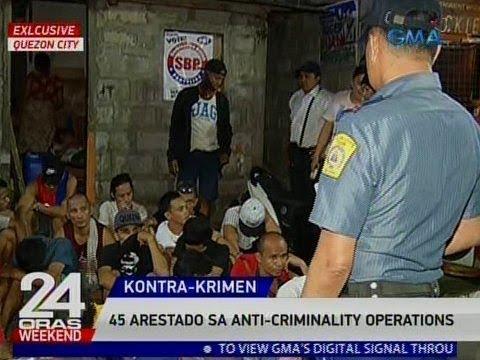 24 Oras: 45 arestado sa anti-criminality operations sa QC