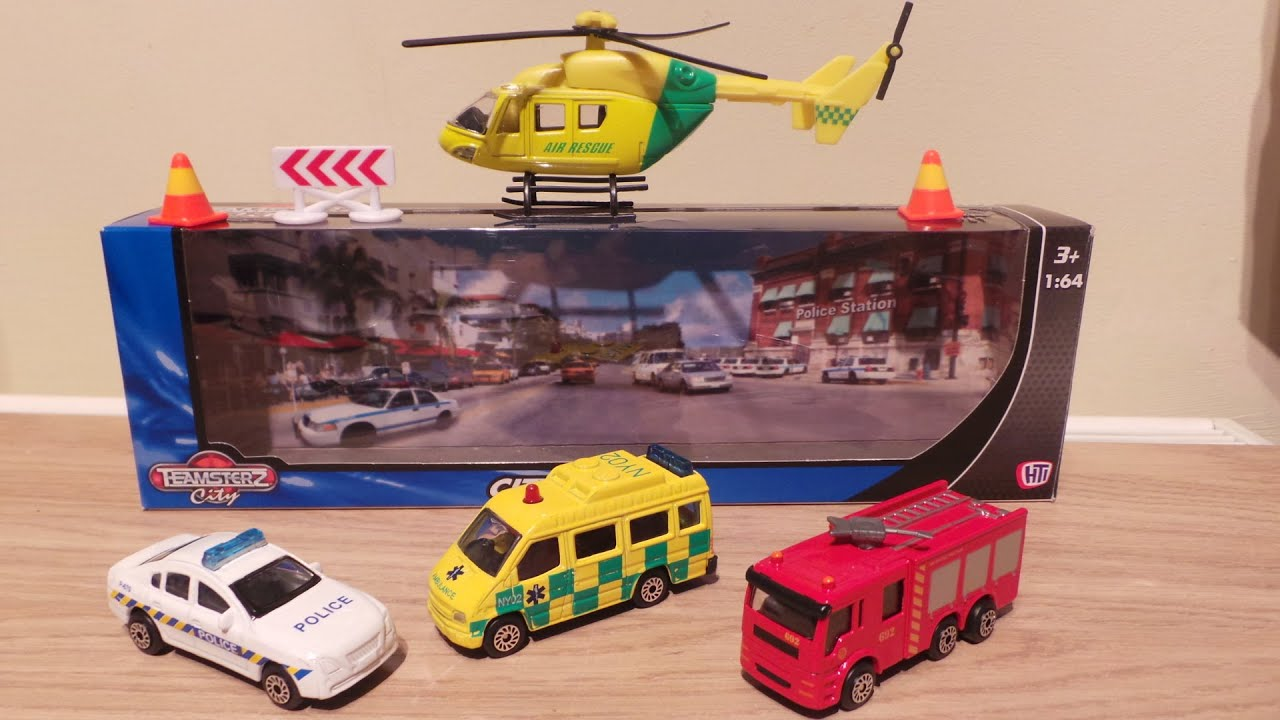 TOP 4 EMERGENCY VEHICLE TOYS POLICE CAR AIR RESCUE HELICOPTER