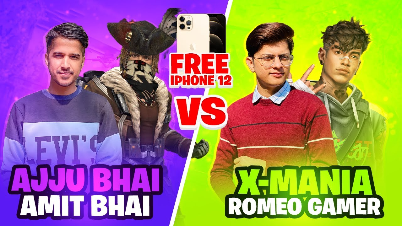 Ajjubhai94 and Amitbhai VS Romeo and X Mania iPhone 12 Pro Max Challenge - Garena Free Fire
