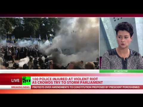 One dead as Ukraine parliament protest escalates, dozens injured