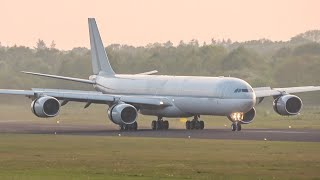 Final landing of this qatar a340-600 a7-agb at twente airport. on may 1st, 13.5 years old a340 made her after flying for airways for...