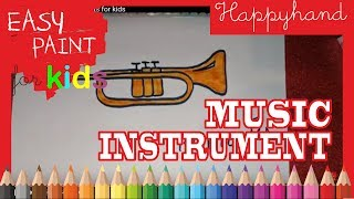 How to draw  music instruments for kids