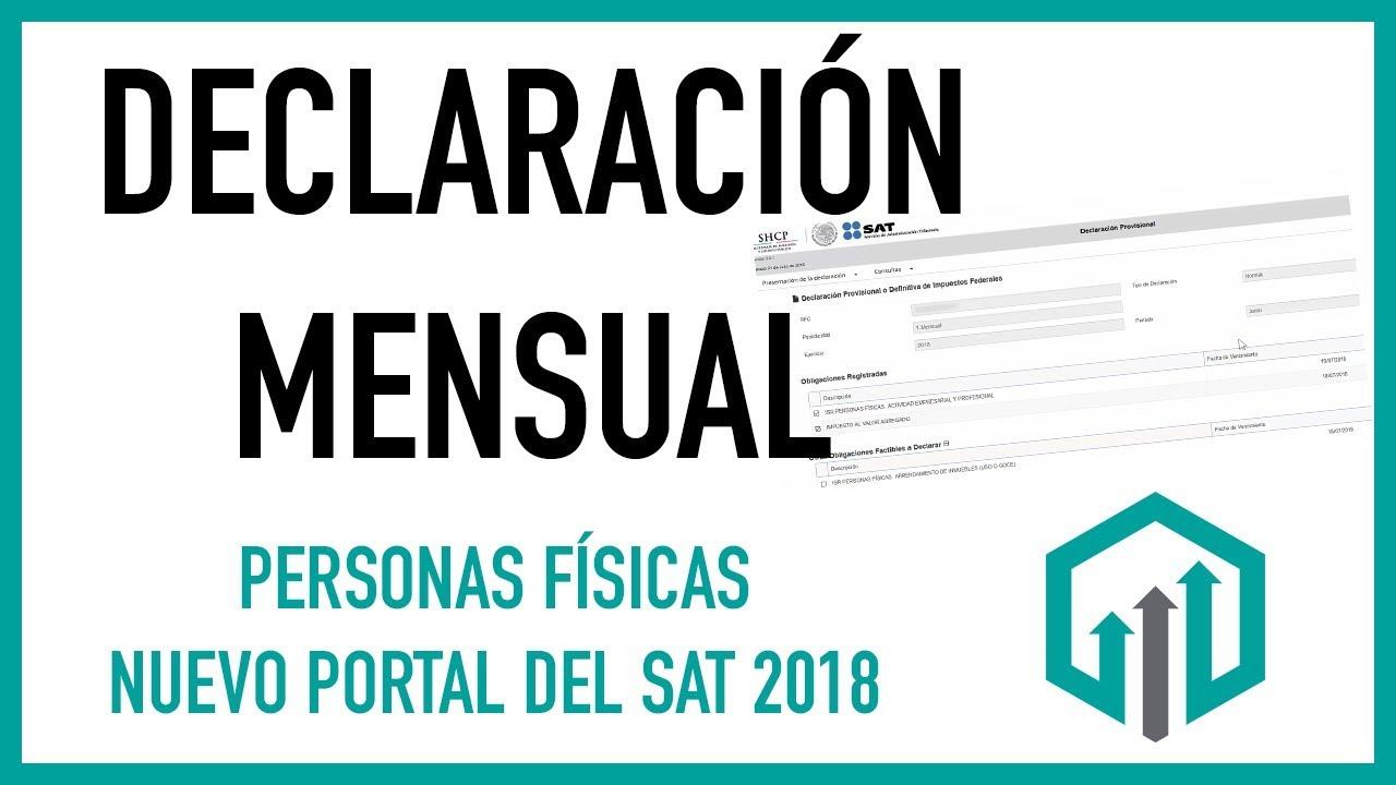 Declaración Mensual Persona Física Portal Del Sat 2018