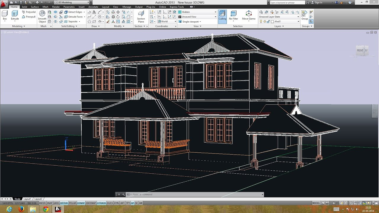 Autocad double storied 3d house preparing the plan for for Create house design 3d