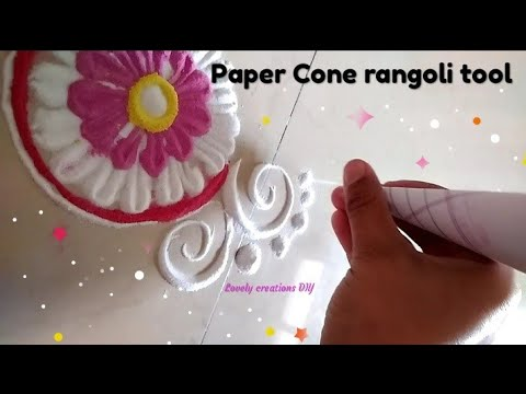 Rangoli tool by using paper Cone ll easy border rangoli & dots with paper Cone technique ll