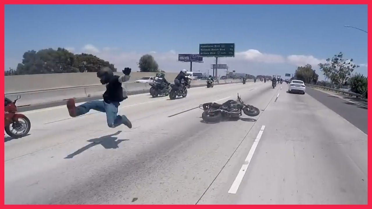 Motorcycle Accident Crash During Wheelie On The Highway Crash 2015