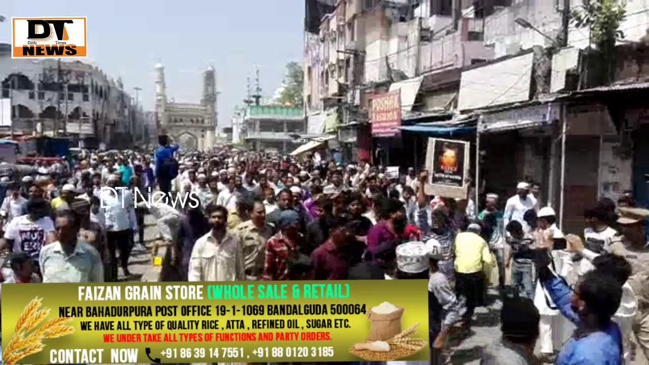 Huge Protest Rally Taken Out After Jummah Prayer From Makkah Masjid