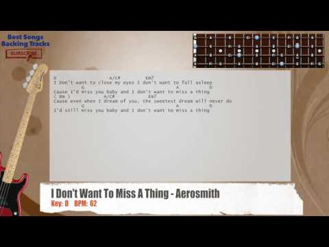 I Don't Want To Miss A Thing - Aerosmith Bass Backing Track with chords and lyrics