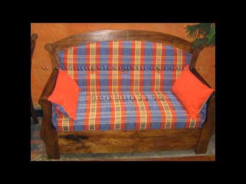 Sala en madera muebles rusticos youtube - Muebles de madera rusticos ...