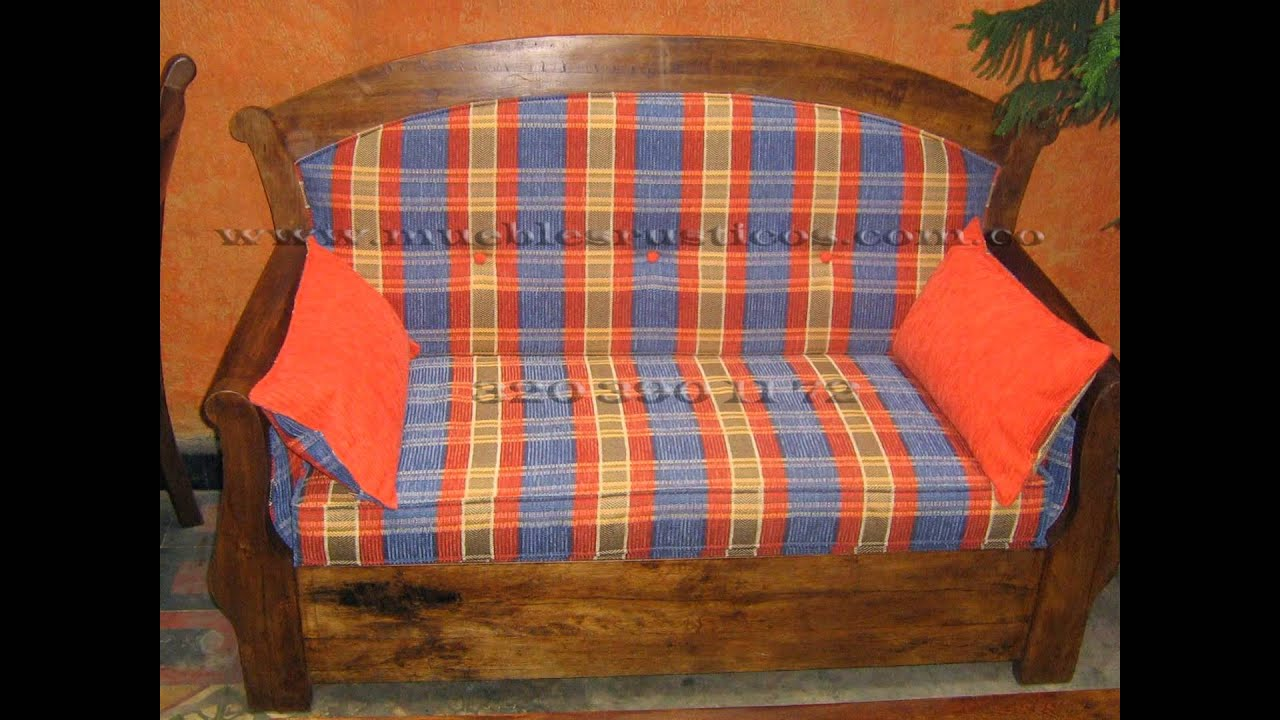 Sala en madera muebles rusticos youtube for Muebles rusticos de madera